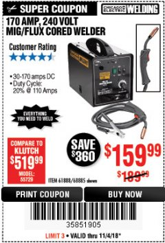Harbor Freight Coupon 170 AMP MIG/FLUX WIRE FEED WELDER Lot No. 68885/61888 Expired: 11/4/18 - $159.99