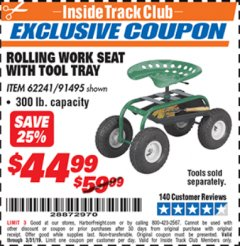 Harbor Freight ITC Coupon ROLLING WORK SEAT WITH TOOL TRAY Lot No. 62241/91495 Expired: 3/31/19 - $44.99