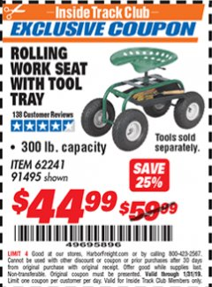 Harbor Freight ITC Coupon ROLLING WORK SEAT WITH TOOL TRAY Lot No. 62241/91495 Expired: 1/31/19 - $44.99