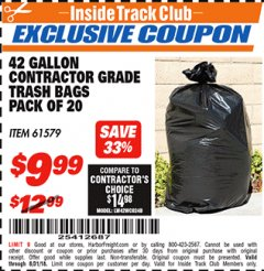 Harbor Freight ITC Coupon 42 GALLON CONTRACTOR GRADE TRASH BAGS PACK OF 20 Lot No. 61579 Expired: 8/31/18 - $9.99