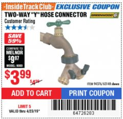 Harbor Freight ITC Coupon TWO-WAY Y-HOSE CONNECTOR Lot No. 94376/63148 Expired: 4/23/19 - $3.99