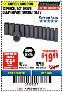 "Harbor Freight Coupon 13 PIECE 1/2"" DRIVE DEEP WALL IMPACT SOCKET SETS Lot No. 69560/67903/69280/69333/69561/67904/69279/69332 Expired: 5/20/18 - $19.99"