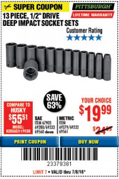 "Harbor Freight Coupon 13 PIECE 1/2"" DRIVE DEEP WALL IMPACT SOCKET SETS Lot No. 69560/67903/69280/69333/69561/67904/69279/69332 Expired: 7/8/18 - $19.99"