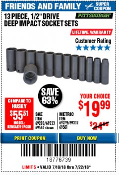 "Harbor Freight Coupon 13 PIECE 1/2"" DRIVE DEEP WALL IMPACT SOCKET SETS Lot No. 69560/67903/69280/69333/69561/67904/69279/69332 Expired: 7/22/18 - $19.99"