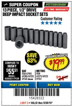 "Harbor Freight Coupon 13 PIECE 1/2"" DRIVE DEEP WALL IMPACT SOCKET SETS Lot No. 69560/67903/69280/69333/69561/67904/69279/69332 Expired: 9/30/18 - $19.99"