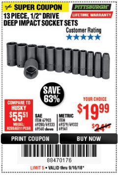 "Harbor Freight Coupon 13 PIECE 1/2"" DRIVE DEEP WALL IMPACT SOCKET SETS Lot No. 69560/67903/69280/69333/69561/67904/69279/69332 Expired: 9/16/18 - $19.99"