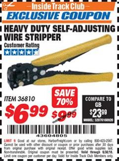 Harbor Freight ITC Coupon HEAVY DUTY SLEF-ADJUSTING WIRE STRIPPER Lot No. 36810 Dates Valid: 6/1/18 - 6/30/18 - $6.99