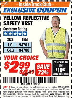 Harbor Freight ITC Coupon YELLOW REFLECTIVE SAFETY VESTS Lot No. 94701/94700 Expired: 8/31/18 - $2.99