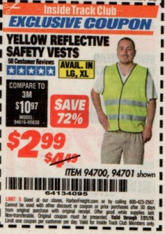 Harbor Freight ITC Coupon YELLOW REFLECTIVE SAFETY VESTS Lot No. 94701/94700 Valid Thru: 7/31/19 - $2.99