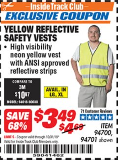 Harbor Freight ITC Coupon YELLOW REFLECTIVE SAFETY VESTS Lot No. 94701/94700 Expired: 10/31/19 - $3.49