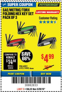 Harbor Freight Coupon SAE/METRIC/TORX FOLDING HEX KEY SET PACK OF 3 Lot No. 94905/60822/61921 Expired: 5/28/18 - $4.99