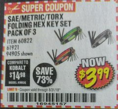 Harbor Freight Coupon SAE/METRIC/TORX FOLDING HEX KEY SET PACK OF 3 Lot No. 94905/60822/61921 Expired: 8/31/18 - $3.99