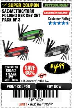 Harbor Freight Coupon SAE/METRIC/TORX FOLDING HEX KEY SET PACK OF 3 Lot No. 94905/60822/61921 Expired: 11/30/18 - $4.99