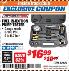 Harbor Freight ITC Coupon FUEL INJECTION PUMP TESTER Lot No. 92699/62623 Expired: 10/31/19 - $16.99