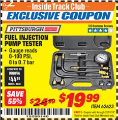 Harbor Freight ITC Coupon FUEL INJECTION PUMP TESTER Lot No. 92699/62623 Valid Thru: 12/31/19 - $19.99