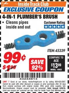 Harbor Freight ITC Coupon 4-IN-1 PLUMBER'S BRUSH Lot No. 45339 Dates Valid: 12/31/69 - 6/30/18 - $0.99