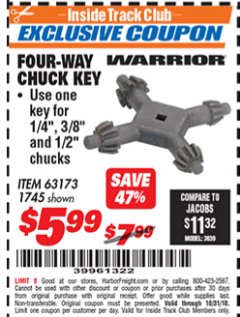 Harbor Freight ITC Coupon FOUR-WAY CHUCK KEY Lot No. 63173/1745 Expired: 10/31/18 - $5.99