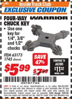 Harbor Freight ITC Coupon FOUR-WAY CHUCK KEY Lot No. 63173/1745 Expired: 12/31/18 - $5.99