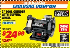 "Harbor Freight ITC Coupon 3"" TOOL GRINDER WITH BUFFING WHEEL Lot No. 94071 Expired: 12/31/18 - $24.99"