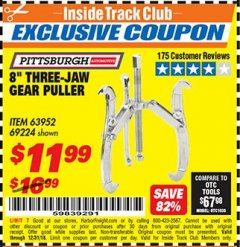 "Harbor Freight ITC Coupon 8"" THREE-JAW GEAR PULLER Lot No. 63952/69224 Valid Thru: 12/31/18 - $11.99"
