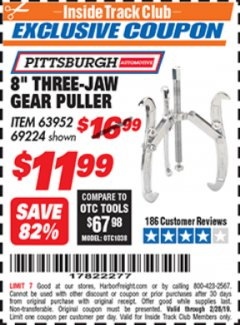 "Harbor Freight ITC Coupon 8"" THREE-JAW GEAR PULLER Lot No. 63952/69224 Dates Valid: 12/31/69 - 2/28/19 - $11.99"