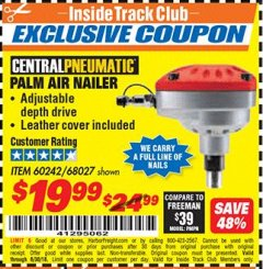 Harbor Freight ITC Coupon PALM AIR NAILER Lot No. 60242/68027 Dates Valid: 12/31/69 - 6/30/18 - $19.99