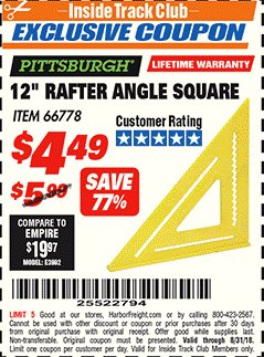 "Harbor Freight ITC Coupon 12"" RAFTER ANGLE SQUARE Lot No. 66778 Expired: 8/31/18 - $4.49"