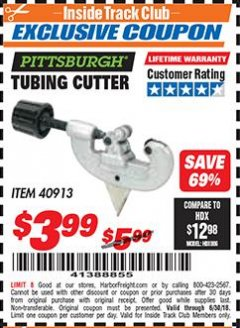 Harbor Freight ITC Coupon TUBING CUTTER Lot No. 40913 Expired: 6/30/18 - $3.99