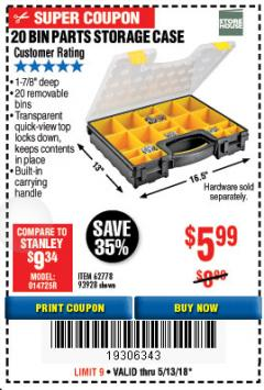Harbor Freight Coupon 20 BIN PORTABLE PARTS STORAGE CASE Lot No. 62778/93928 Expired: 5/13/18 - $5.99