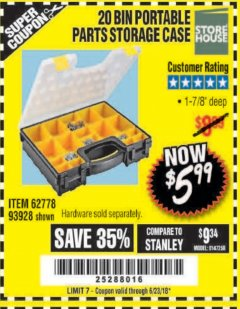 Harbor Freight Coupon 20 BIN PORTABLE PARTS STORAGE CASE Lot No. 62778/93928 Expired: 6/23/18 - $5.99