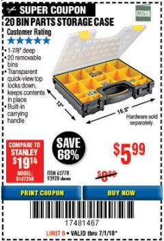 Harbor Freight Coupon 20 BIN PORTABLE PARTS STORAGE CASE Lot No. 62778/93928 Expired: 7/1/18 - $5.99