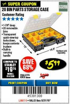 Harbor Freight Coupon 20 BIN PORTABLE PARTS STORAGE CASE Lot No. 62778/93928 Expired: 8/31/18 - $5.99