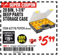Harbor Freight Coupon 20 BIN PORTABLE PARTS STORAGE CASE Lot No. 62778/93928 Expired: 12/31/18 - $5.99
