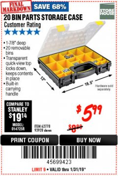Harbor Freight Coupon 20 BIN PORTABLE PARTS STORAGE CASE Lot No. 62778/93928 Expired: 1/31/19 - $5.99
