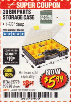Harbor Freight Coupon 20 BIN PORTABLE PARTS STORAGE CASE Lot No. 62778/93928 Expired: 2/28/19 - $5.99