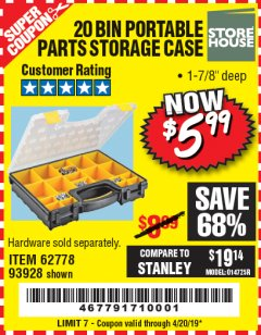 Harbor Freight Coupon 20 BIN PORTABLE PARTS STORAGE CASE Lot No. 62778/93928 Expired: 4/20/19 - $5.99
