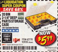 Harbor Freight Coupon 20 BIN PORTABLE PARTS STORAGE CASE Lot No. 62778/93928 Expired: 5/31/19 - $5.99