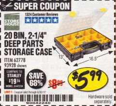 Harbor Freight Coupon 20 BIN PORTABLE PARTS STORAGE CASE Lot No. 62778/93928 Expired: 6/30/19 - $5.99
