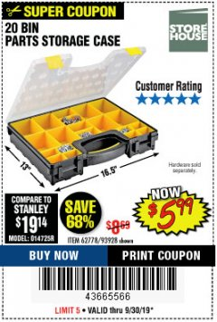 Harbor Freight Coupon 20 BIN PORTABLE PARTS STORAGE CASE Lot No. 62778/93928 Expired: 9/30/19 - $5.99