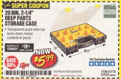 Harbor Freight Coupon 20 BIN PORTABLE PARTS STORAGE CASE Lot No. 62778/93928 Expired: 11/30/19 - $5.99