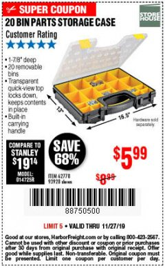 Harbor Freight Coupon 20 BIN PORTABLE PARTS STORAGE CASE Lot No. 62778/93928 Expired: 11/27/19 - $5.99