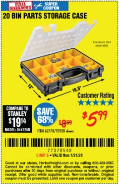 Harbor Freight Coupon 20 BIN PORTABLE PARTS STORAGE CASE Lot No. 62778/93928 Valid Thru: 1/31/20 - $5.99