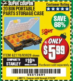 Harbor Freight Coupon 20 BIN PORTABLE PARTS STORAGE CASE Lot No. 62778/93928 Valid: 12/31/19 - 2/15/20 - $5.99