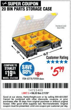 Harbor Freight Coupon 20 BIN PORTABLE PARTS STORAGE CASE Lot No. 62778/93928 Valid: 1/6/20 - 2/7/20 - $5.99