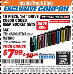 "Harbor Freight ITC Coupon 10 PIECE 1/4"" DRIVE COLOR CODED DEEP SOCKET SETS Lot No. 67865/61290/61298/67868 Expired: 2/28/19 - $7.99"