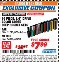 "Harbor Freight ITC Coupon 10 PIECE 1/4"" DRIVE COLOR CODED DEEP SOCKET SETS Lot No. 67865/61290/61298/67868 Expired: 8/31/19 - $7.99"