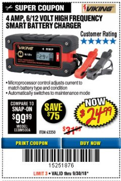 Harbor Freight Coupon 4AMP 6/12V HIGH FREQUENCY SMART BATTERY CHARGER Lot No. 63350 Expired: 9/30/18 - $24.99
