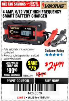 Harbor Freight Coupon 4AMP 6/12V HIGH FREQUENCY SMART BATTERY CHARGER Lot No. 63350 Expired: 12/31/18 - $24.99