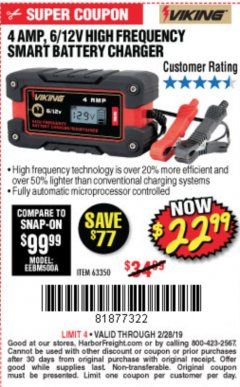 Harbor Freight Coupon 4AMP 6/12V HIGH FREQUENCY SMART BATTERY CHARGER Lot No. 63350 Expired: 2/28/19 - $22.99