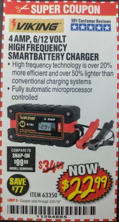 Harbor Freight Coupon 4AMP 6/12V HIGH FREQUENCY SMART BATTERY CHARGER Lot No. 63350 Expired: 3/31/19 - $22.99
